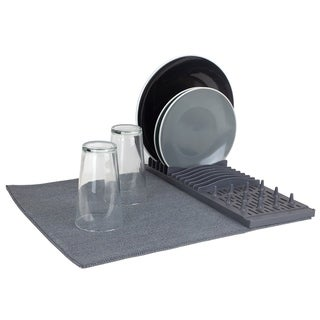 Link to Home Basics Low Profile Plastic Dish Drying Rack with Micro Fiber Drying Mat, Grey Similar Items in Kitchen Storage