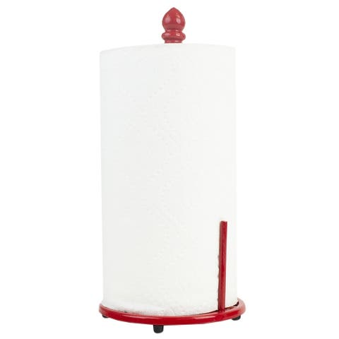 Chevron Cast Iron Free-Standing Paper Towel Holder with Dispensing Side Bar, Red