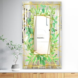 Designart 'Efflorescent Gold Green 5' Traditional Mirror - Floral and Modern Large Wall Mirror