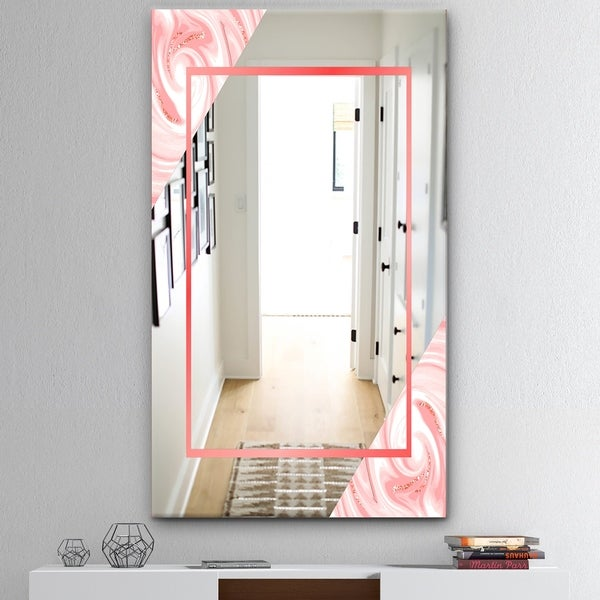Designart 'Marble Pink' Mid-Century Mirror - Accent and Bathroom Mirror - Pink