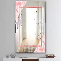 Designart 'Marble Pink' Mid-Century Mirror - Accent and Bathroom Mirror - Pink