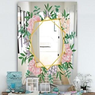Designart 'Efflorescent Gold Pink 2' Cabin and Lodge Mirror - Wall Mirror