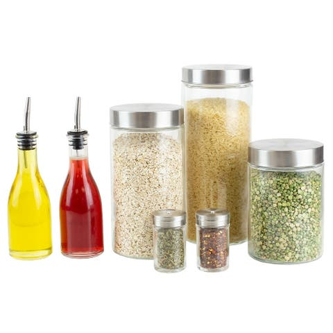 7 Pcs Set Kitchen Condiment and Canister, Salt and Pepper Set & Vinegar and Olive Oil Dispensers (Clear)