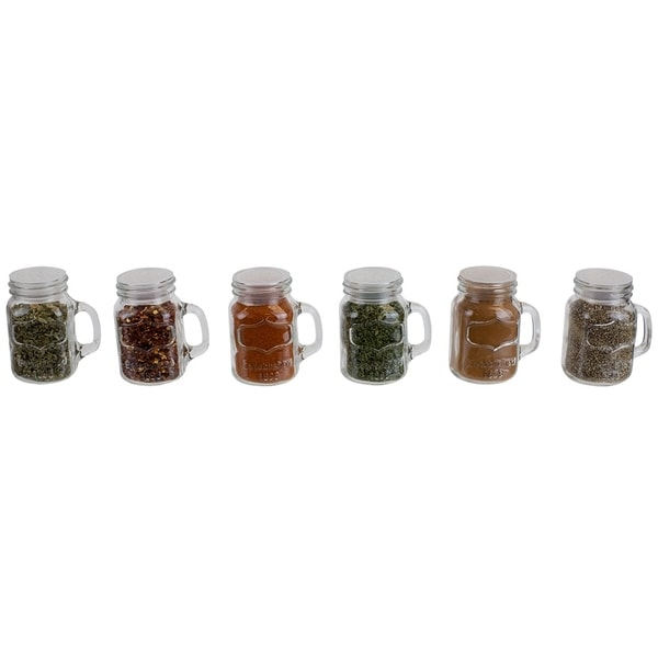 6 Piece Glass Spice and Seasoning Jar Set with Clear Shaker Top and Handle, Clear