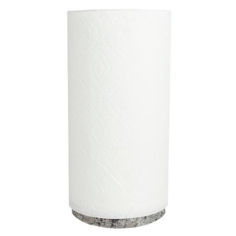 Freestanding Bamboo Paper Towel Holder with Granite Base, White