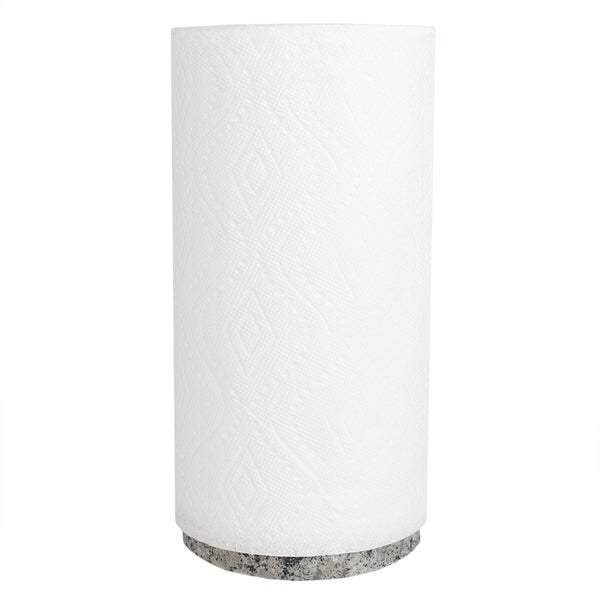 Freestanding Bamboo Paper Towel Holder with Granite Base, White. Opens flyout.