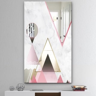 Designart 'Triangular Spacy Spheres 4' Mid-Century Mirror - Decorative Mirror - Pink