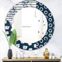 Porch & Den Dane Indigo Stripe and Circle Frameless Mirror