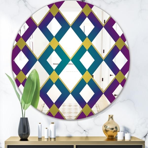 Designart 'Purple Diamonds' Mid-Century Mirror - Round Decorative Mirror - Blue