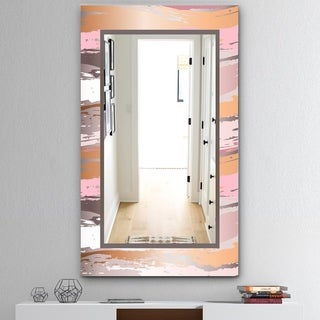 Designart 'Gold and Pink Frame' Mid-Century Bathroom Mirror - Frameless Wall Mirror - Gold