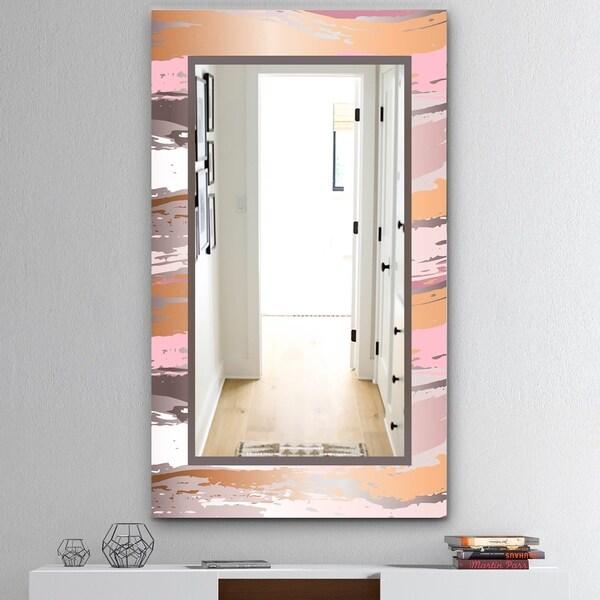 Designart 'Gold and Pink Frame' Mid-Century Bathroom Mirror - Frameless Wall Mirror - Gold