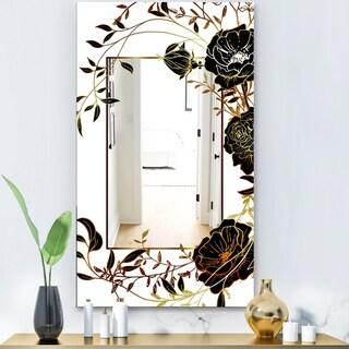 Designart 'Gold Botanical Blooming 8' Shabby Chic Mirror - Vanity Mirror - Black