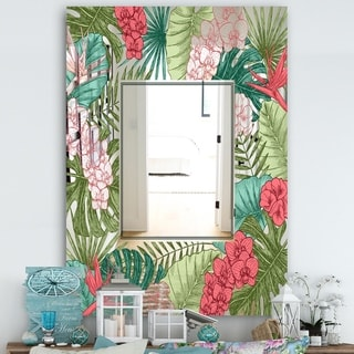 Designart 'Garland Sweet 6' Farmhouse Mirror - Large Wall Mirror - Green