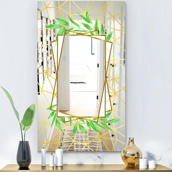 Designart 'Efflorescent Gold Green 6' Glam Mirror - Decorative or Modern Vanity Mirror