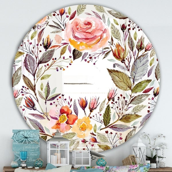 Designart 'Floral Pastel' Cabin and Lodge Mirror - Oval or Round Wall Mirror - Pink