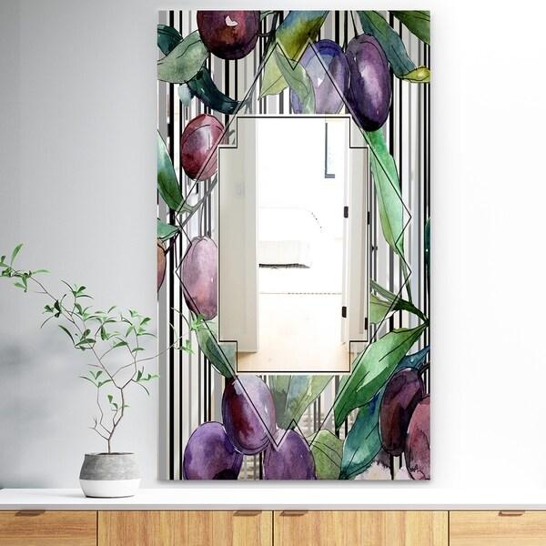 Designart 'Garland Sweet 21' Traditional Mirror - Large Mirror - Purple