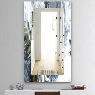 Porch & Den 'Marbled Geode 13' Mirror - Grey/Silver