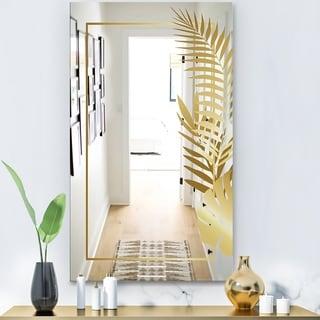 Designart 'Capital Gold Botanical Bliss 7' Glam Mirror - Modern Vanity Mirror