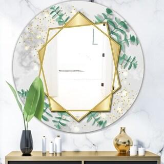 Designart 'Glamorous Eucalyptus Tree' Glam Mirror - Oval or Round Wall Mirror - Gold
