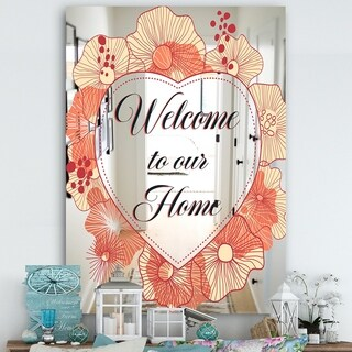 Designart 'Pink Flower Garland. Welcome To Our Home' Cabin and Lodge Mirror - Large Wall Mirror - Multi