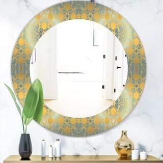 Designart 'Glam Flowers Decorative' Glam Mirror - Frameless Oval or Round Wall Mirror - Gold