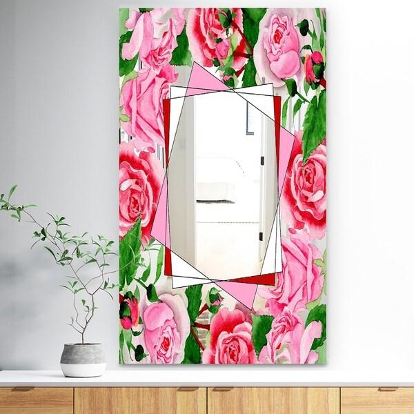 Designart 'Efflorescent Gold Abundance 4' Traditional Mirror - Wall Mirror - Pink