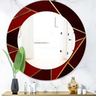 Designart 'Capital Gold Honeycomb 12' Modern Mirror - Frameless Contemporary Oval or Round Bathroom Mirror - Red