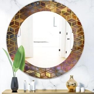 Designart 'Capital Gold Honeycomb 9' Modern Round Mirror - Frameless Oval or Round Wall Mirror