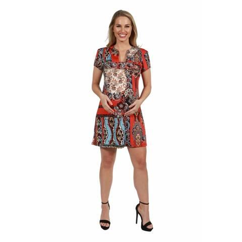 24seven Comfort Apparel Square Neck Short Sleeve Maternity Mini Dress