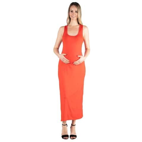 24seven Comfort Apparel Racerback Maternity Maxi Dress