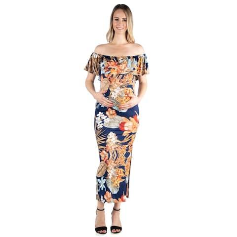 24seven Comfort Apparel Ruffle Off The Shoulder Maternity Maxi Dress