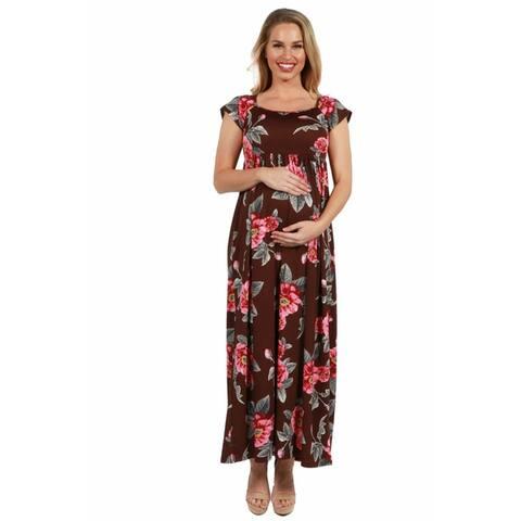24seven Comfort Apparel Cap Sleeve Empire Waist Maternity Maxi Dress