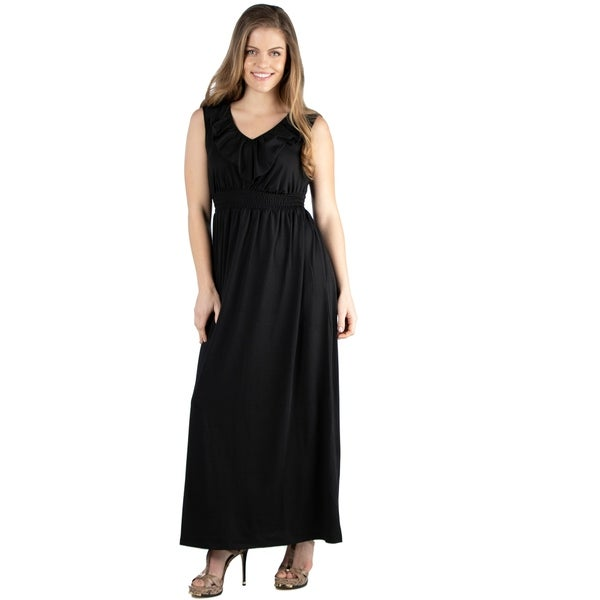 89b149123b16e Shop 24seven Comfort Apparel Empire Waist Ruffle Maternity Maxi ...