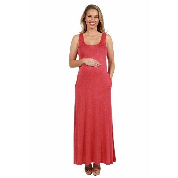 2748a31fb1c2 24seven Comfort Apparel Sleeveless Tank Maternity Maxi Dress with Pockets