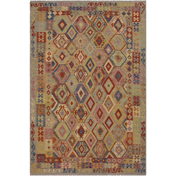 "Kilim Terence Blue/Tan Hand-Woven Wool Rug -6'8 x 9'3 - 6'8"" x 9'3"""