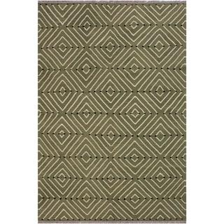 """Kilim Christia Green/Ivory Hand-Woven Wool Rug -6'0 x 8'8 - 6'0"""" x 8'8"""""""
