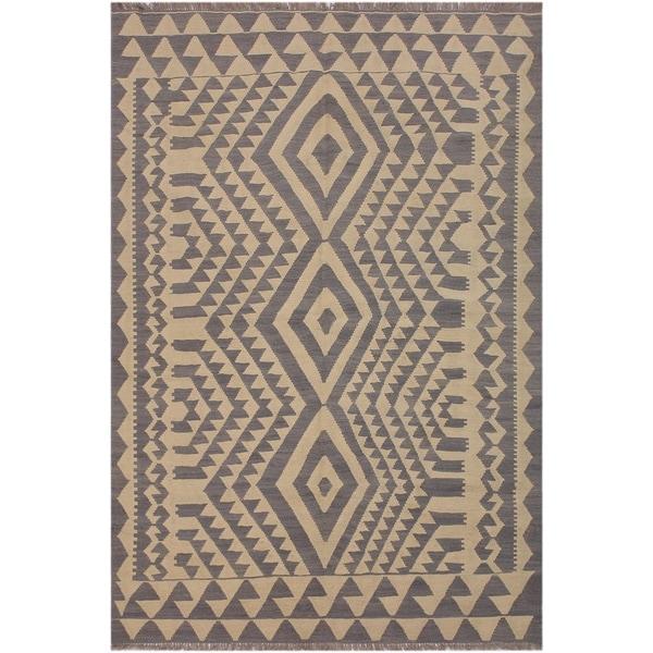 "Kilim Jackquel Ivory/Gray Hand-Woven Wool Rug -5'8 x 7'8 - 5'8"" x 7'8"""