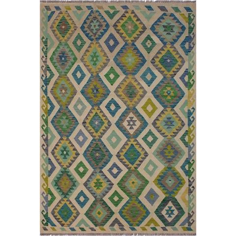 "Kilim Billy Ivory/Green Hand-Woven Wool Rug -5'6 x 8'1 - 5'6"" x 8'1"""