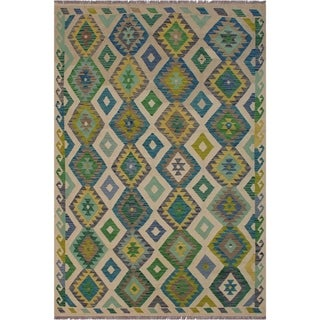 "Kilim Billy Ivory/Green Hand-Woven Wool Rug -5'6 x 8'1 - 5'6"" x 8'1"""