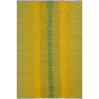 "Kilim Bernadet Yellow/Green Hand-Woven Wool Rug -5'9 x 7'9 - 5'9"" x 7'9"""