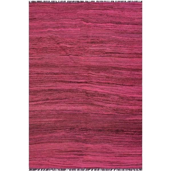 "Kilim Bunny Pink/Brown Hand-Woven Wool Rug -5'9 x 7'6 - 5'9"" x 7'6"""