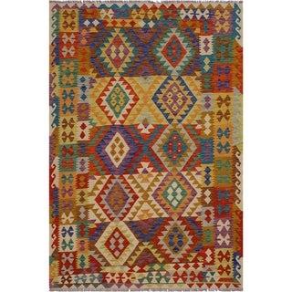 "Kilim Annelies Ivory/Rust Hand-Woven Wool Rug -5'10 x 7'9 - 5'10"" x 7'9"""