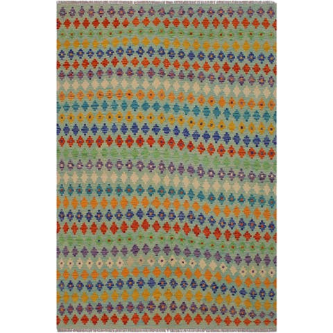 "Kilim Brigid Lt. Blue/Rust Hand-Woven Wool Rug -5'10 x 7'9 - 5'10"" x 7'9"""