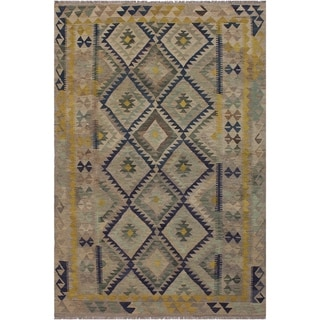 "Kilim Bonny Gray/Gold Hand-Woven Wool Rug -5'11 x 8'1 - 5'11"" x 8'1"""