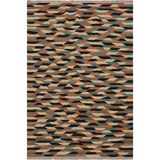 "Kilim Bryce Ivory/Drk. Blue Hand-Woven Wool Rug -5'10 x 7'11 - 5'10"" x 7'11"""