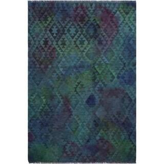 "Kilim Carlena Lt. Blue/Green Hand-Woven Wool Rug -5'10 x 8'0 - 5'10"" x 8'0"""