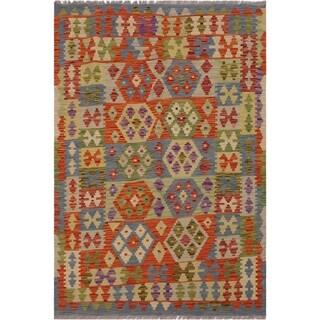 "Kilim Alva Rust/Gray Hand-Woven Wool Rug -5'0 x 6'6 - 5'0"" x 6'6"""