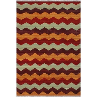 "Kilim Margaret Red/Rust Hand-Woven Wool Rug -6'4 x 9'0 - 6'4"" x 9'0"""