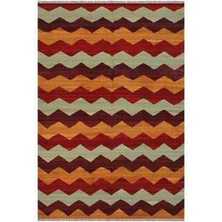 "Kilim Margaret Red/Rust Hand-Woven Wool Rug -6'4 x 9'0 - 6'4"" x 9'0"""