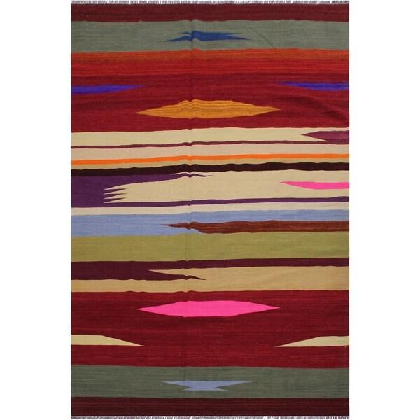 "Kilim Arlinda Red/Ivory Hand-Woven Wool Rug -6'1 x 9'1 - 6'1"" x 9'1"""